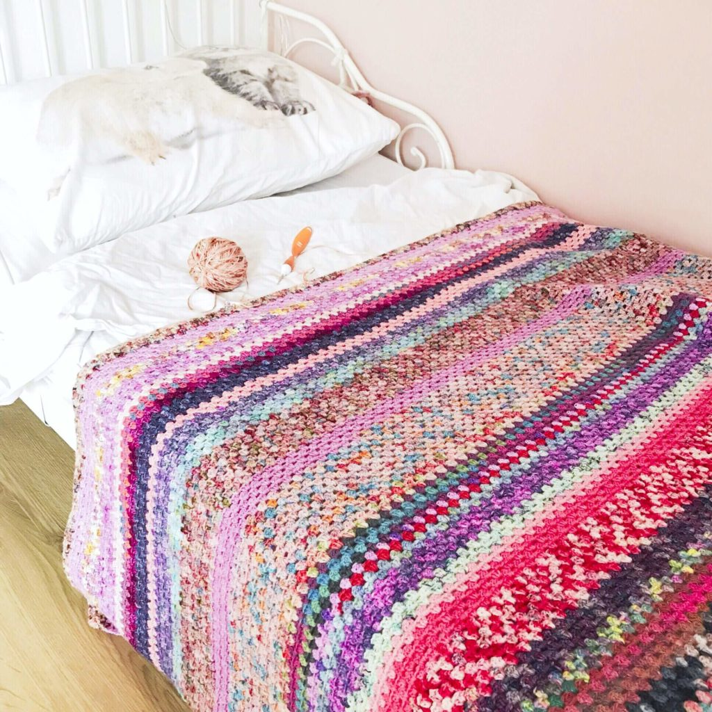gehaakte restjes deken granny stripe