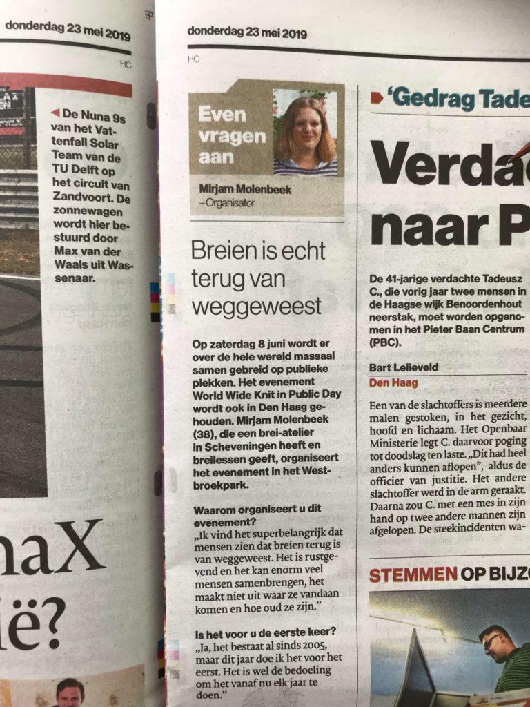 Mirjam Molenbeek AD Haagsche Courant Den Haag World Wide Knit in Public day 2019